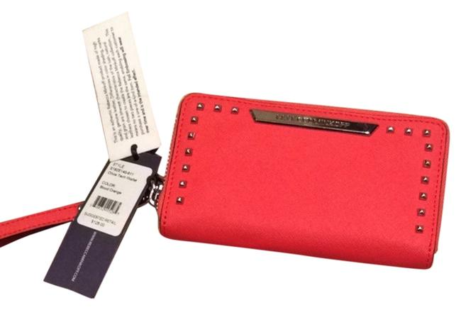 Item - Olivia Tech Blood Orange Leather Wristlet
