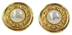 Chanel Gold Button Earrings with Pearl Centers
