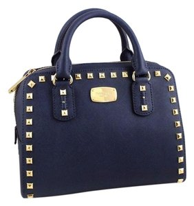 Michael Kors Studded Stud Satchel in Navy