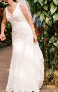 White By Vera Wang V-neck And Lace Wedding Dress Wedding Dress