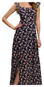 Black floral Maxi Dress by Other Feminine Flirty Floral Maxi Side Split