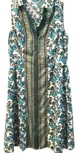 The Limited short dress Blue, green Floral Collared on Tradesy