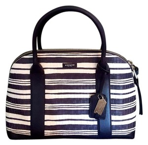 Coach Satchel in Indigo and white