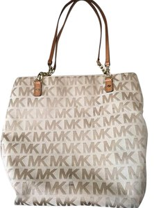 Michael Kors Jet Set East West Signature Tote in Khaki / Nude