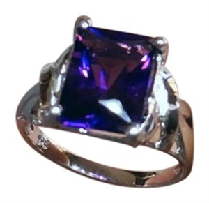 African Amethyst Ring Sterling Silver Ring, Size 7, Emerald Cut