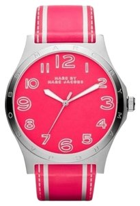 Marc Jacobs Marc Jacobs Women's Henry Silver Tone Pink Leather Watch MBM1231