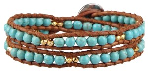 New Boho 2 Strand Braided Turquoise Beads and Brown Wrap Bracelet