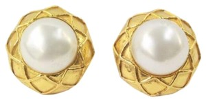 Chanel Gold Button Earrings with Pearl Centers Clip On Circa 1970's