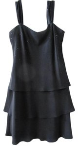 Evan Picone Tiny Sequins Little Black Flattering Style Classic / Dress