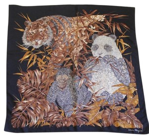 Salvatore Ferragamo Black Floral Animal Silk Scarf