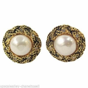 Chanel Gold Tone Button Earrings with Faux Pearl & Crystals Clip On