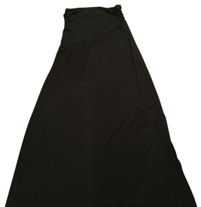 Bobeau Ruched Maxi Skirt Black
