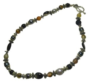 New Agate Quartz Gemstone Necklace Black Silver Tone J2847