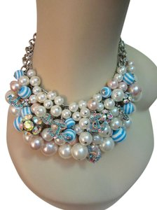 Betsey Johnson Anchors Away Bib Necklace w/ Crystals Blue Pink Faux Pearls Authentic