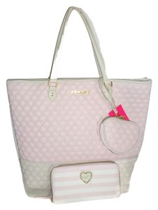 Betsey Johnson Quilted Swag Tote in blush/bone