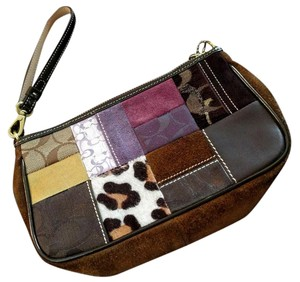 Coach Gold Hardware Leather Suede Holiday Brown Patchwork Clutch Demi Bag Clutch