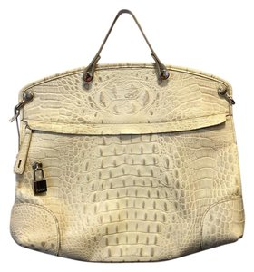 Furla Croc Embossed Leather Satchel in Ivory