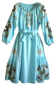 turquoise Maxi Dress by Other Embroidered Linen Vita Kin Russian Embroidery March Ii