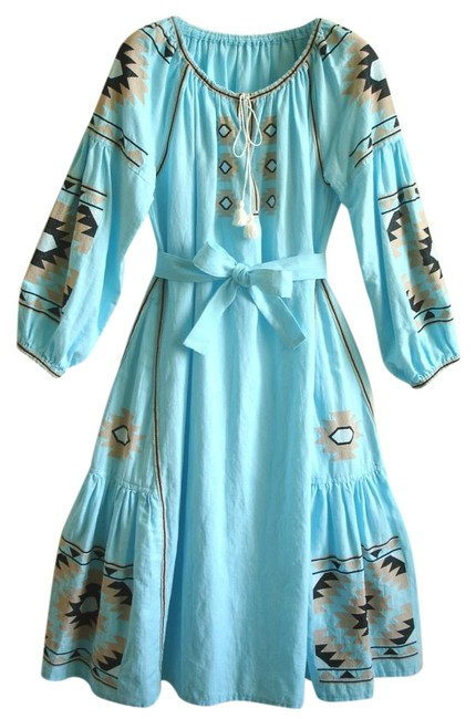 Preload https://img-static.tradesy.com/item/19016998/turquoise-embroidered-linen-long-casual-maxi-dress-size-4-s-0-1-650-650.jpg