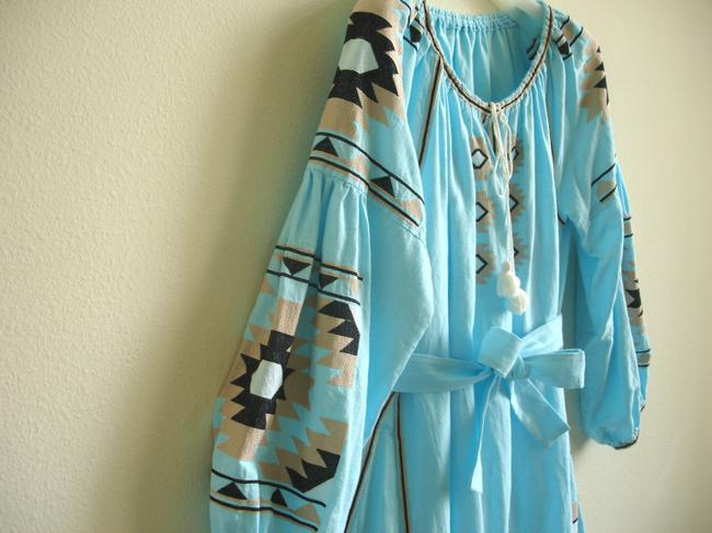 turquoise Maxi Dress by Other Embroidered Linen Vita Kin Russian Embroidery March Ii Image 1