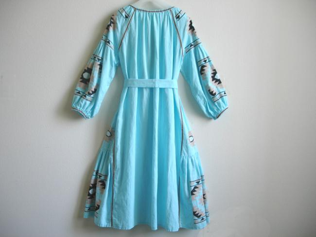 turquoise Maxi Dress by Other Embroidered Linen Vita Kin Russian Embroidery March Ii Image 2