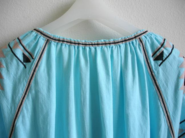 turquoise Maxi Dress by Other Embroidered Linen Vita Kin Russian Embroidery March Ii Image 5