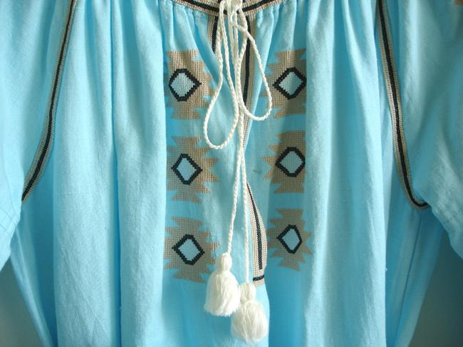 turquoise Maxi Dress by Other Embroidered Linen Vita Kin Russian Embroidery March Ii Image 8