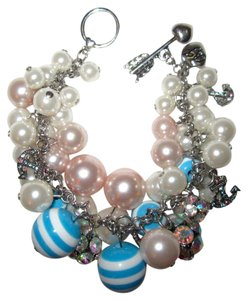 Betsey Johnson Anchors Away Bracelet Crystals Charms Blue Pink White Faux Pearl Auth