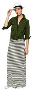 J.Crew Striped Casual Maxi Skirt White