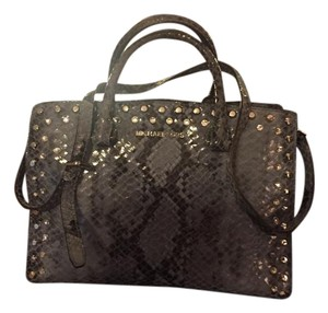 Michael Kors Studded Python Satchel in Blue/Gray and Black Leather