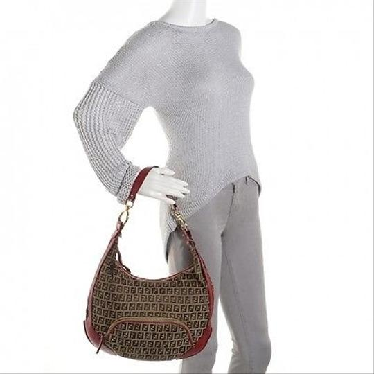 FENDI Zucchino Medium Hobo Red Shoulder Bag Purse Hobo Bag