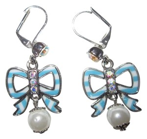 Betsey Johnson Anchors Away Earrings Bow Crystal Blue White Faux Pearl Authentic
