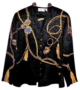 Adrianna Papell Designer Rope Longsleeves Top Black, Gold, and, Jewels