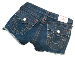 True Religion Denim Jean Pockets Cut Off Shorts Blue Denim