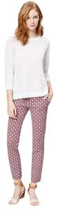 Ann Taylor LOFT Print Skinny Ankle Casual Capri/Cropped Pants Red
