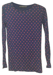 Ki-Line Dot T Shirt Navy Blue with Red Polka Dots
