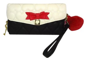 Betsey Johnson Zip around black/bone stripe wallet /red bow