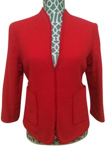 Old Navy Jacket Hot Cotton 3/4 Sleeve Waist Jacket Hook Front Hook Women Ladies Misses Girls Career Professional Elegant Chic Red Blazer