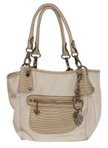 Kathy Van Zeeland Handbag Off White Cotton Polyester Shoulder Bag
