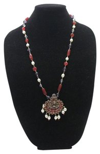 Chanel Necklace Gold Cranberry Red Gripoix Faux Pearl Beads