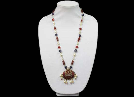Chanel Necklace Gold Cranberry Red Gripoix Faux Pearl Beads Image 1