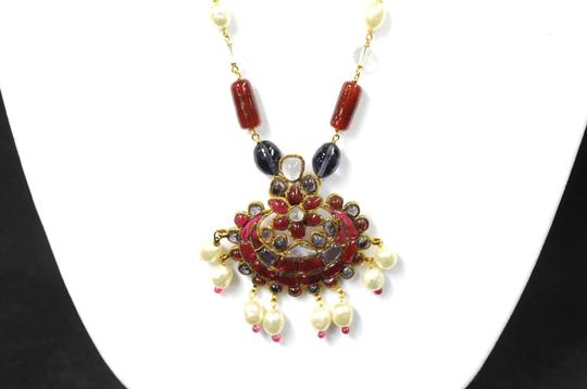 Chanel Necklace Gold Cranberry Red Gripoix Faux Pearl Beads Image 2