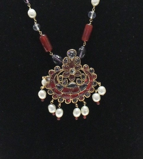 Chanel Necklace Gold Cranberry Red Gripoix Faux Pearl Beads Image 3