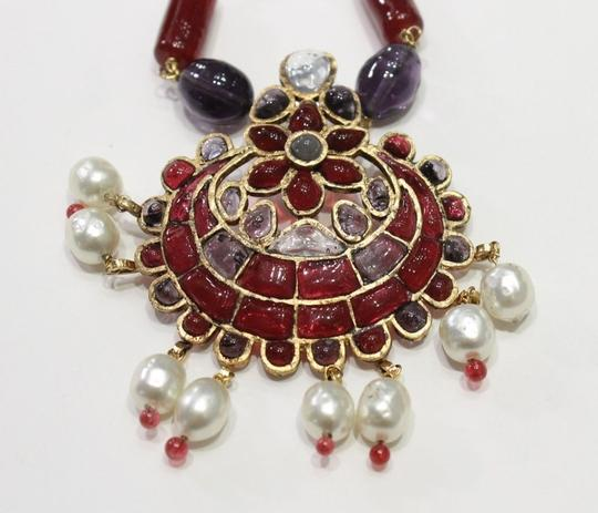 Chanel Necklace Gold Cranberry Red Gripoix Faux Pearl Beads Image 4