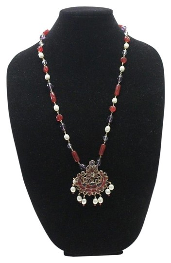 Chanel Necklace Gold Cranberry Red Gripoix Faux Pearl Beads Image 5