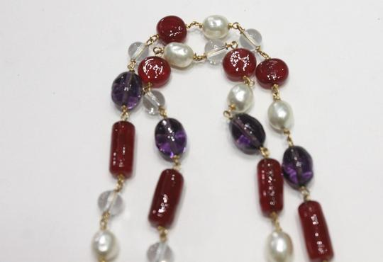 Chanel Necklace Gold Cranberry Red Gripoix Faux Pearl Beads Image 6