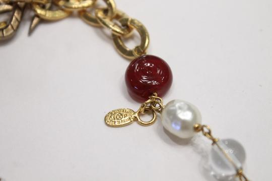 Chanel Necklace Gold Cranberry Red Gripoix Faux Pearl Beads Image 8