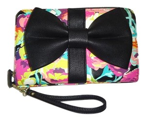 Betsey Johnson Zip around multi color floral over sized wallet /