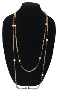 Chanel Necklace Sautoire in Gold, Pearl and Amethyst Gripoix 75