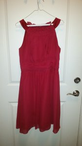 Alfred Angelo Claret Red Chiffon 7053 Formal Bridesmaid/Mob Dress Size 10 (M)